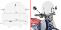 Givi Specific screen, transparent 38,5 x 40 cm (H x W) Honda Super Cub C125 (18)